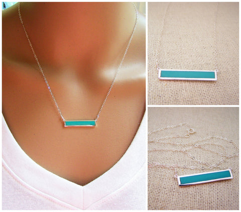 Turquoise Bar Sterling Silver Necklace - Gift for Her