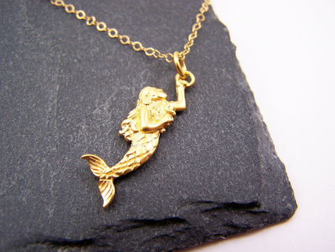 Gold Mermaid Charm 14k Gold Fill Necklace