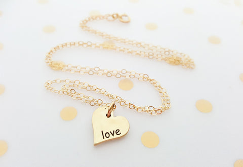 Gold Heart Love Charm Necklace - 14k Gold Fill Necklace - Simple Jewelry - Dainty Necklace - Gold Fill Jewelry  Heart Necklace  Gift for Her
