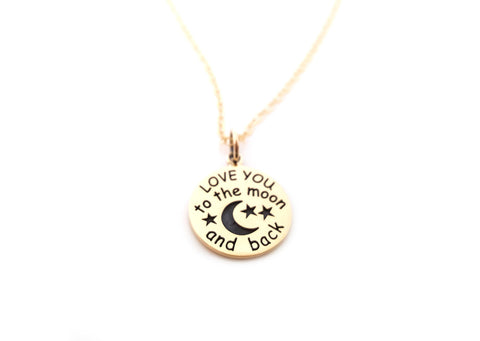 Love You To The Moon and Back Charm Necklace - 14k Gold Fill Necklace - Simple Jewelry - Dainty Necklace - Gold Fill Jewelry - Love Necklace
