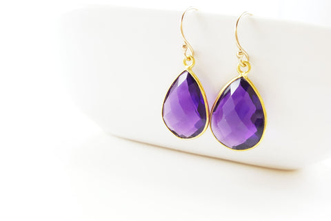Amethyst Earrings - February Birthstone - 14k Gold Filled Earrings - Drop Earrings - Purple Earrings - 14k Gold Filled - Gift for Her