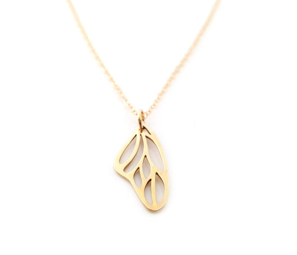 Butterfly Wing Charm 14k Gold Fill Necklace