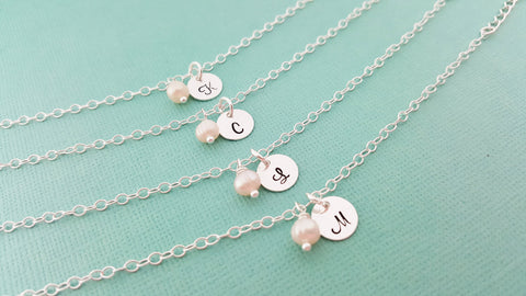 Pearl Initial Bracelet - Personalized Sterling Silver Jewelry - Bridesmaid Gift