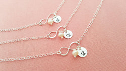 Infinity Pearl and Initial Bracelet - Sterling Silver Jewelry