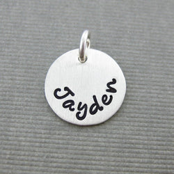 Add a Hand Stamped Name or a Date Charm - 1/2 inch Round Sterling Silver Tag