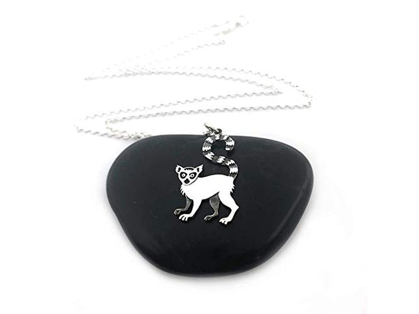 Lemur Charm Necklace - Sterling Silver Jewelry