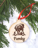 Bull Mastiff Personalized Name Wooden Christmas Ornament