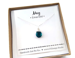 Emerald - May Birthstone - Sterling Silver Necklace