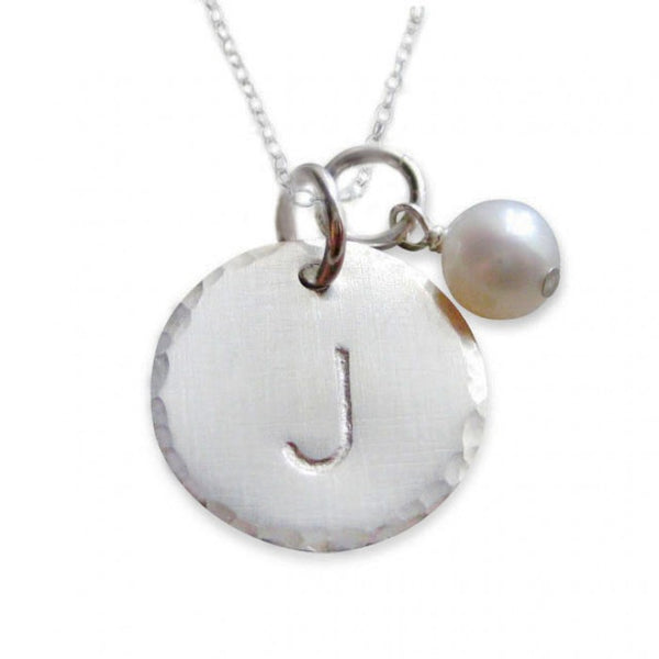 Sterling Silver Initial Hammered Disc Necklace with Pearl
