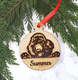 Poodle Personalized Name Wooden Christmas Ornament