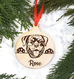 Rottweiler Personalized Name Wooden Christmas Ornament