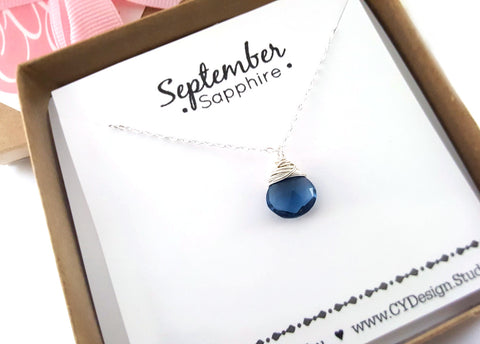 Sapphire - September Birthstone - Sterling Silver Necklace