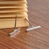 Simple Bar Stud Earrings - Silver Or Gold