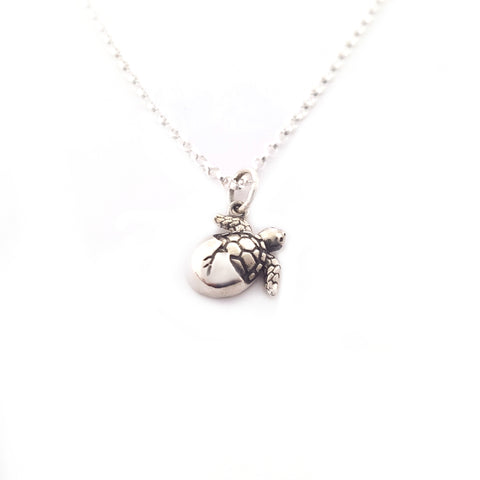 Hatching Sea Turtle Charm Sterling Silver Necklace