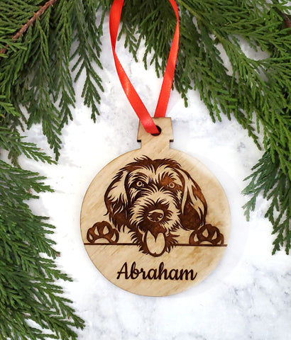 German Wirehaired Pointer Personalized Name Wooden Christmas Ornament