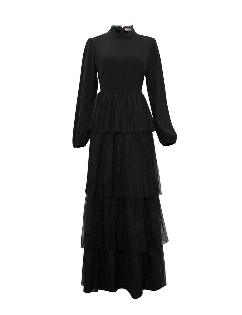 Alanya Layered Tulle Gown - Black-Niswa Fashion