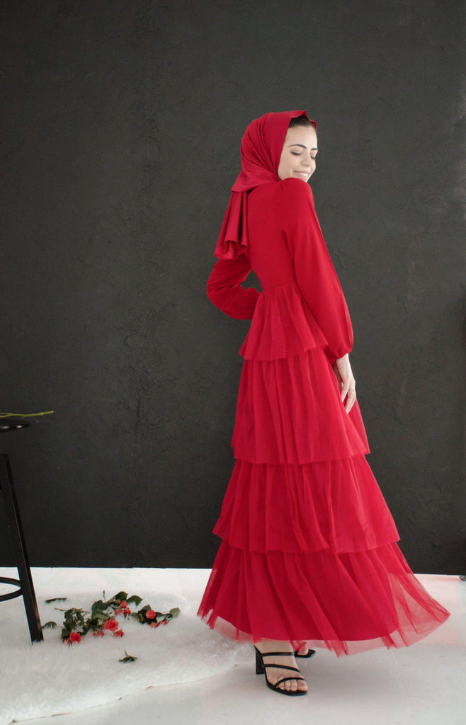 Alanya Layered Tulle Gown - Crimson Red-Niswa Fashion