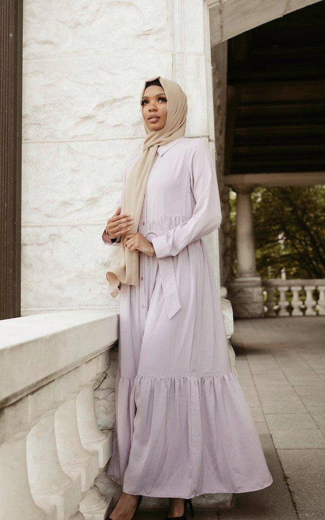Aria Button Down Maxi Dress - Lilac SALE-Niswa Fashion