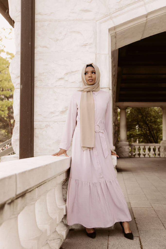 Aria Button Down Maxi Dress - Lilac-Niswa Fashion