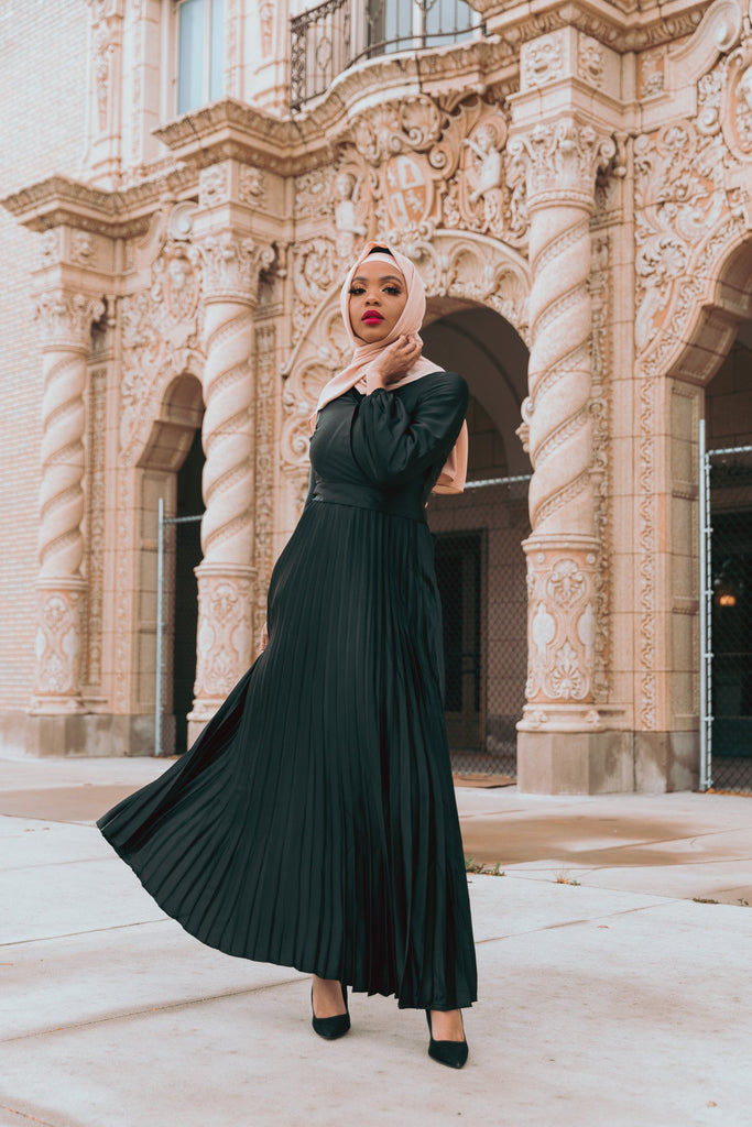 Ayla Pleated Satin Gown - Black-Niswa Fashion
