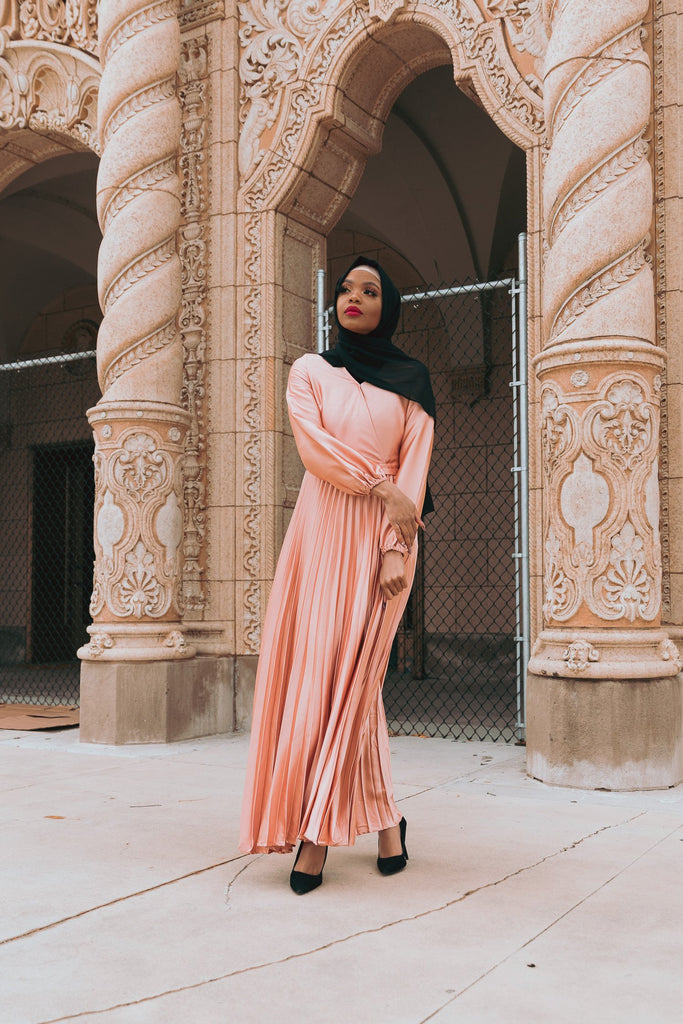 Ayla Pleated Satin Gown - Copper Blush-Niswa Fashion