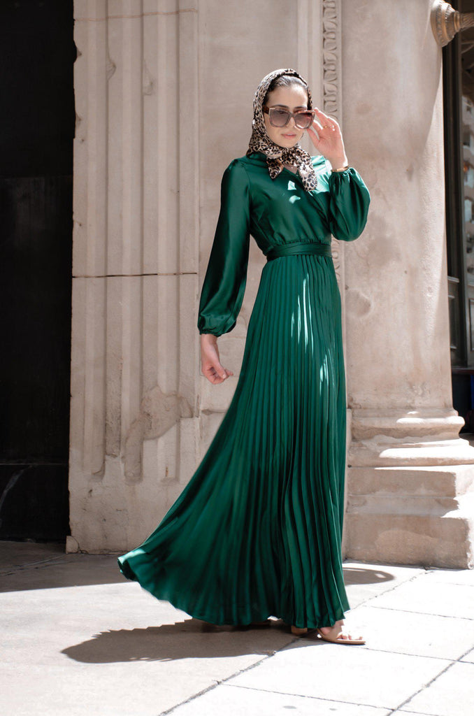 Ayla Pleated Satin Gown - Emerald-Niswa Fashion