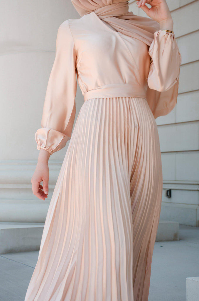 Ayla Pleated Satin Gown - Sunlight Gold-Niswa Fashion