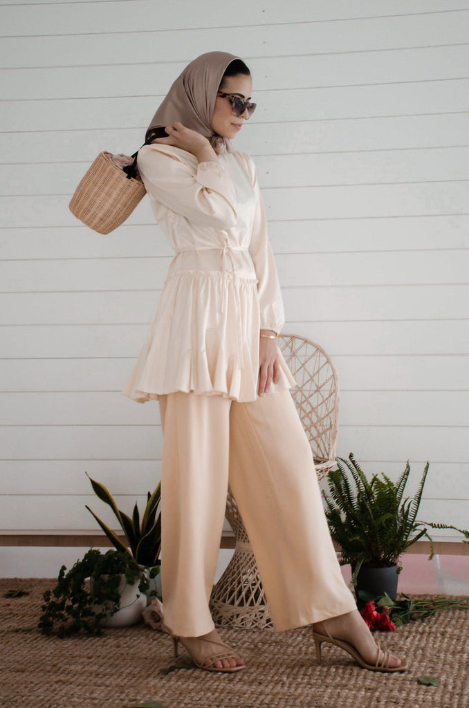 Cinderella Satin Tunic - Ivory-Niswa Fashion