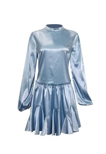 Cinderella Satin Tunic - Powdery Blue-Niswa Fashion