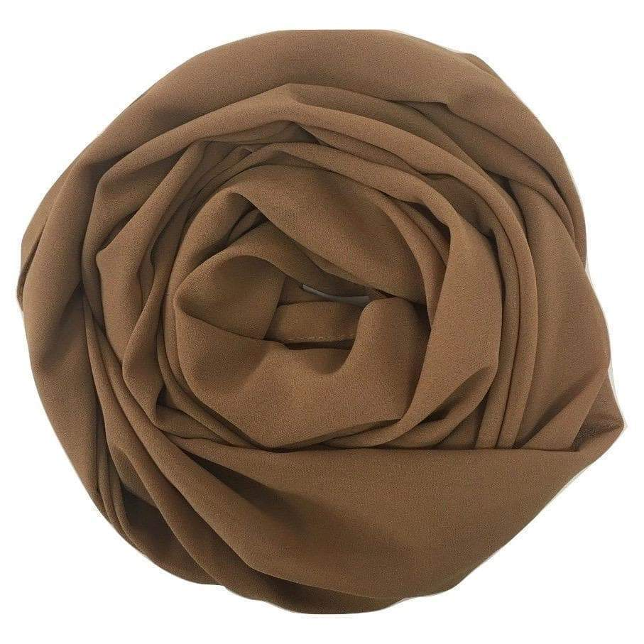 COFFEE Georgette Chiffon Scarf-Niswa Fashion
