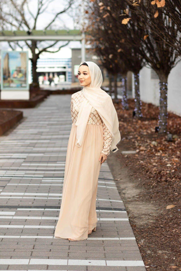 FairyDust Maxi Evening Dress - Rose Gold-Niswa Fashion