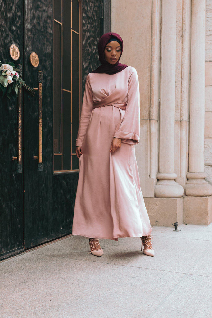 Iman Wrap Dress - Tea Pink-Niswa Fashion
