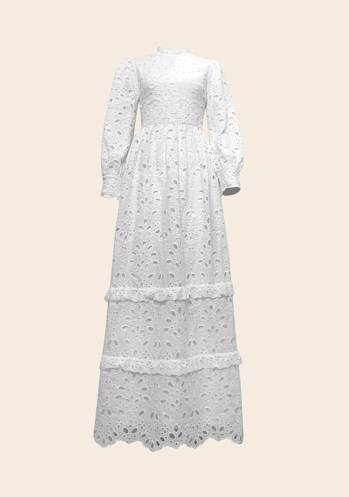 Isolde Eyelet Maxi Gown - White Carnation-Niswa Fashion