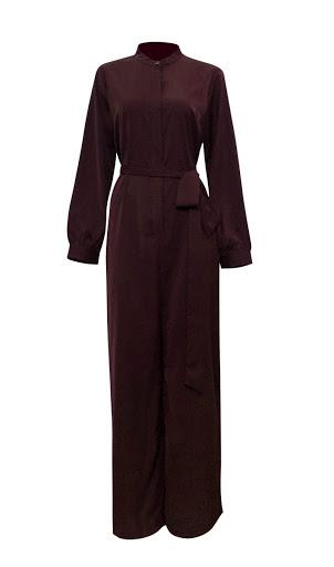 Lady Catherine Jumpsuit - Maroon-Niswa Fashion