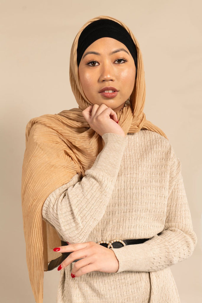 LATTE Pleated Viscose-AllScarves-Niswa Fashion