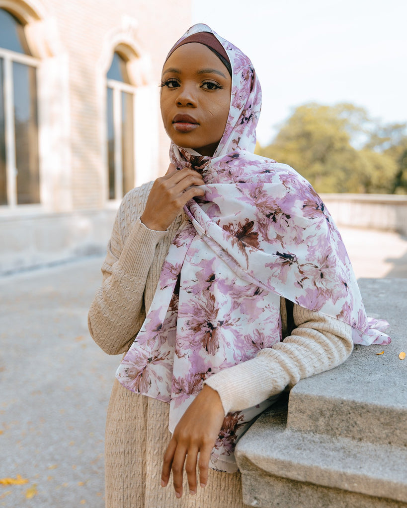 LILAC BLOOM Chiffon Print-AllScarves-Niswa Fashion