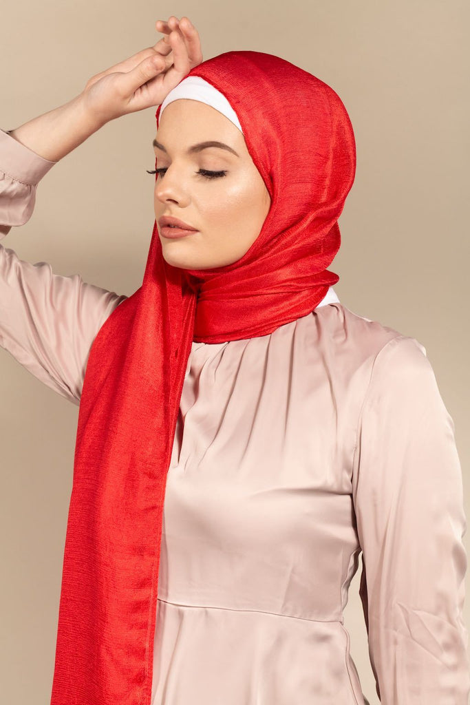 Luxe Satin - CRIMSON-AllScarves-Niswa Fashion