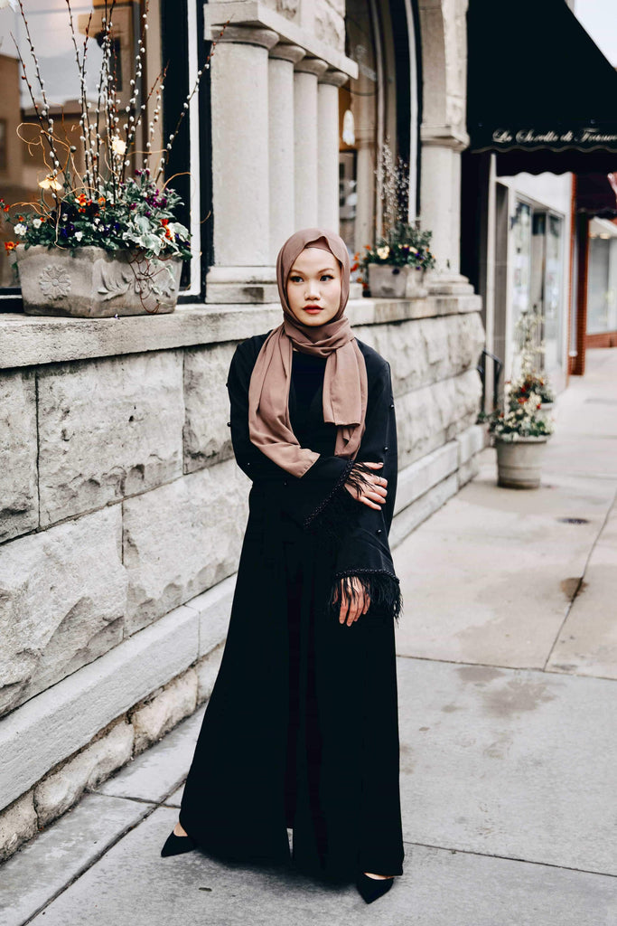 Mademoiselle - Satin Black Abaya-Niswa Fashion