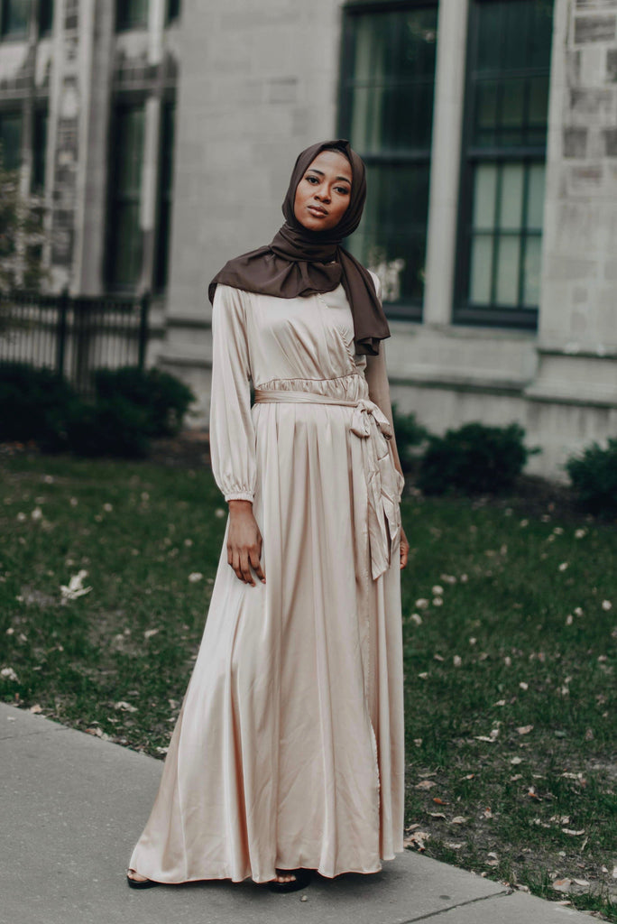 Modest Satin Dress - Gold Champagne-Niswa Fashion