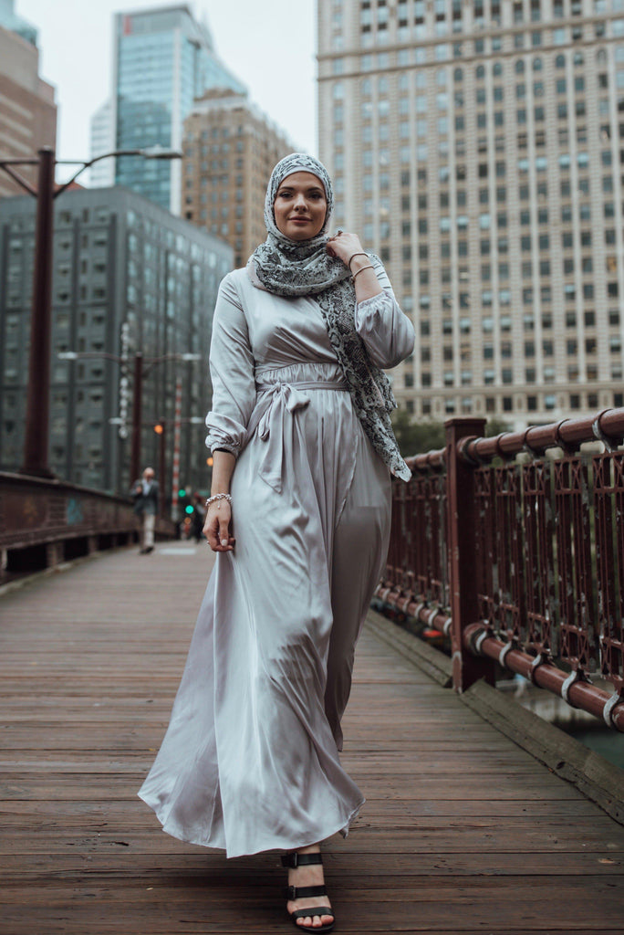 Modest Satin Dress - Metropolitan-Niswa Fashion