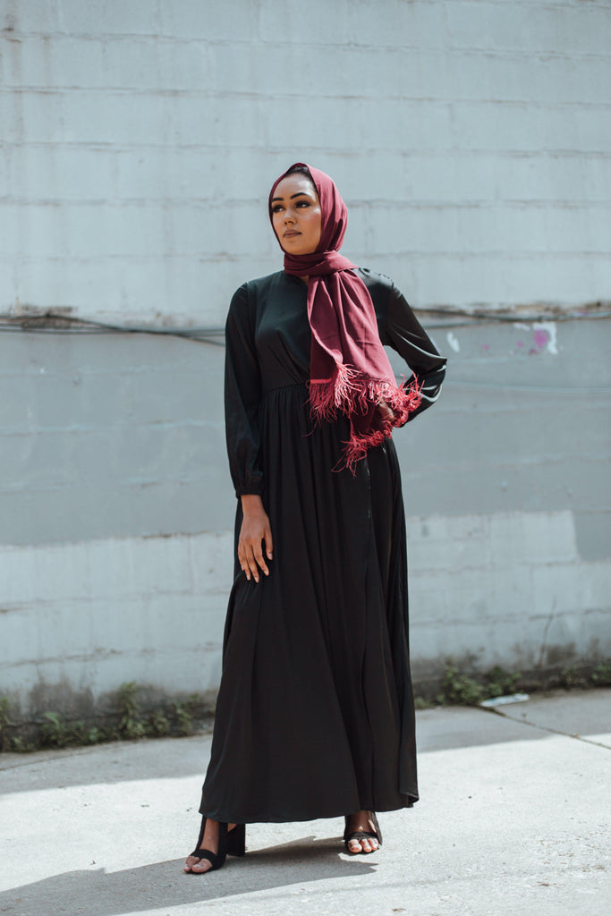 Modest Satin Dress - Midnight Black-Niswa Fashion