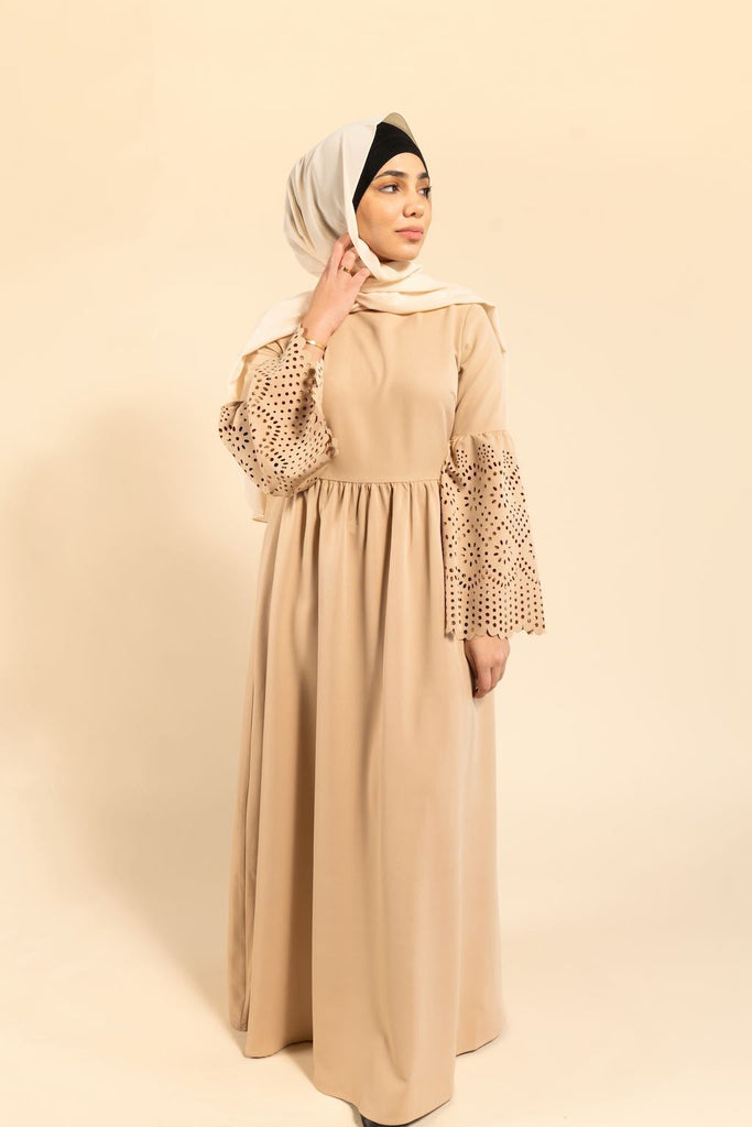 Noor Eyelet Sleeves Maxi Gown - Summer Tan-Niswa Fashion
