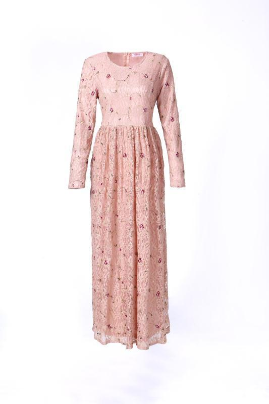 Pink Chantilly Lace Dress-Niswa Fashion