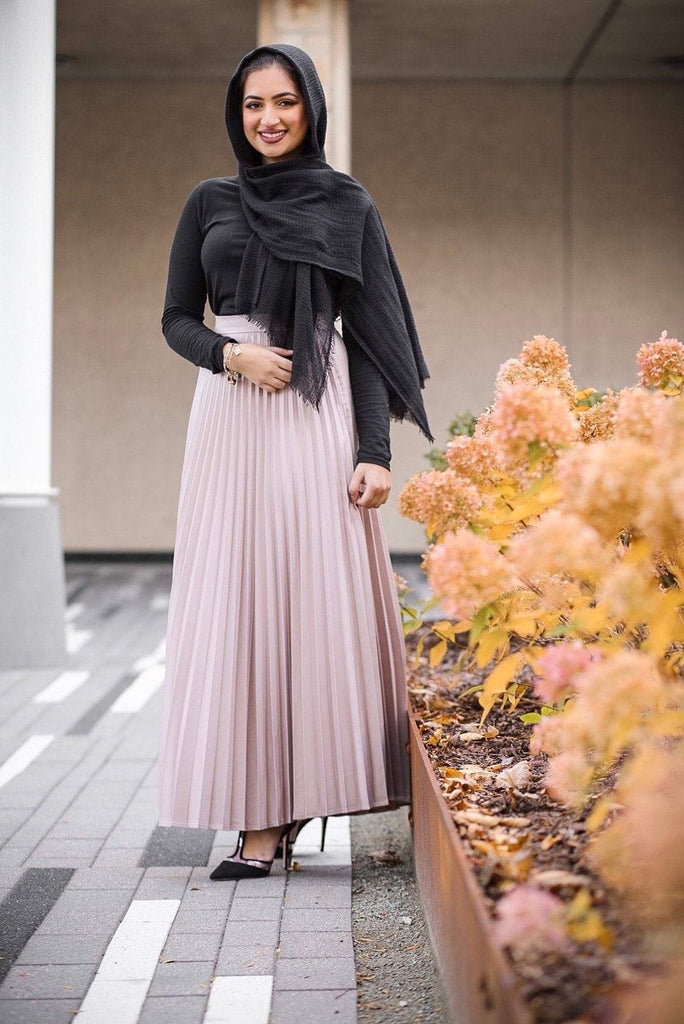 Pleated Metallic Skirt - CLASSIC NUDE-Niswa Fashion