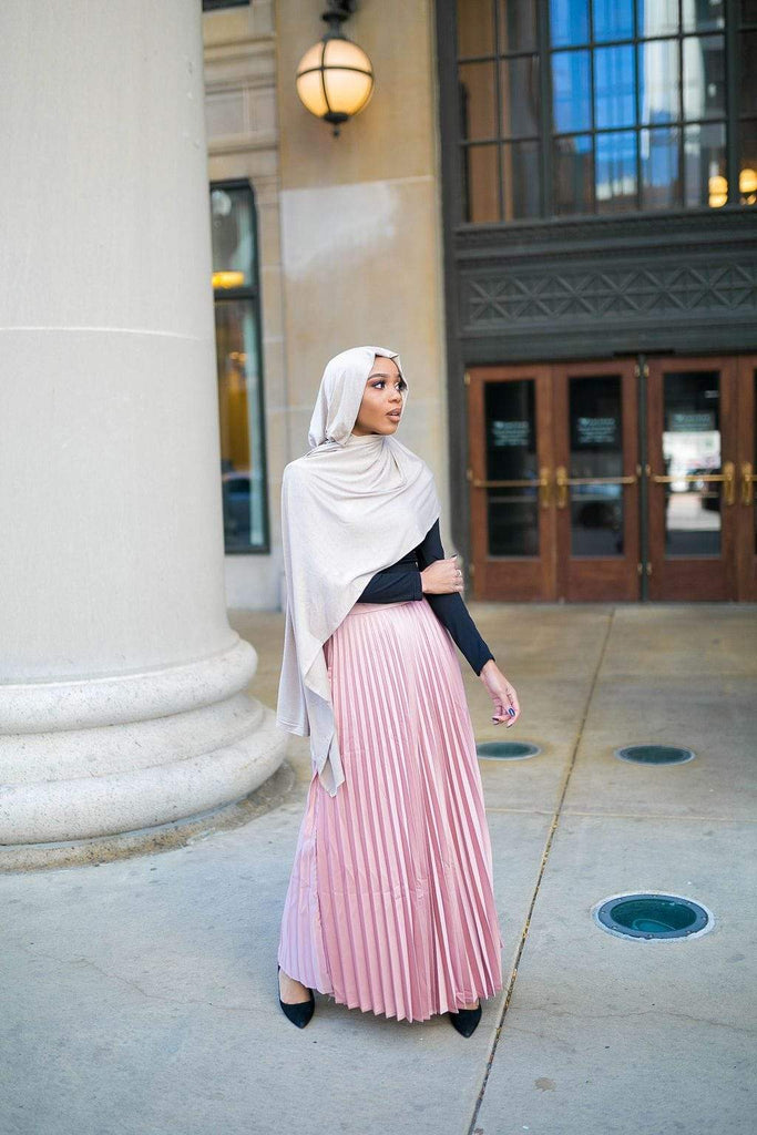 Pleated Metallic Skirt - PEARLY PINK SALE-Niswa Fashion