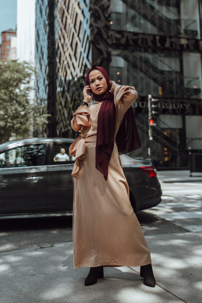 Prim Vintage Maxi Dress - Caramel Latte-Niswa Fashion