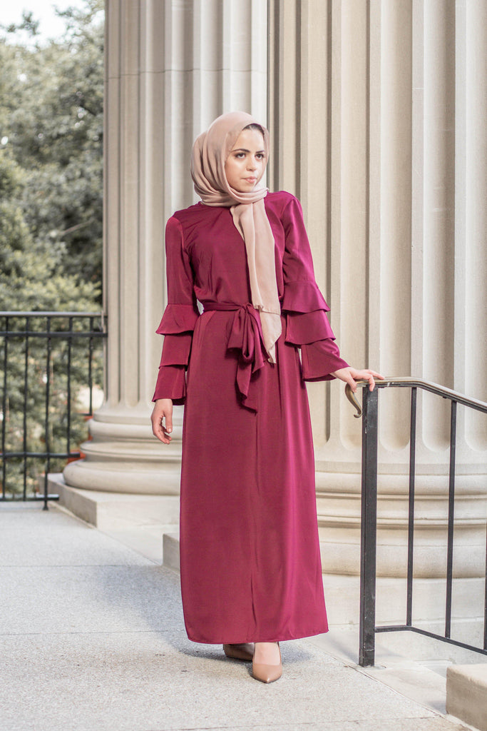 Prim Vintage Maxi Dress - Maroon-Niswa Fashion