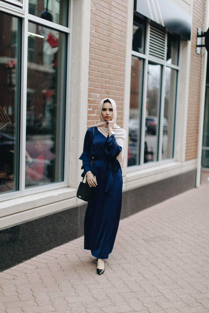 Prim Vintage Maxi Dress - Navy-Niswa Fashion
