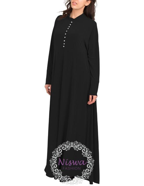 Princess Rhinestone Abaya - Black-Niswa Fashion
