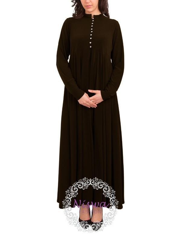 Princess Rhinestone Abaya - Chocolate-Niswa Fashion